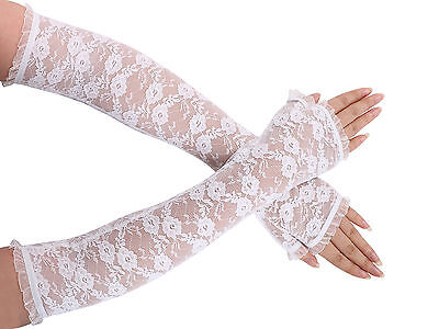 Charming Ladies Lace Fingerless Gauntlet Arm Warmers Bridal Wedding Party Prom