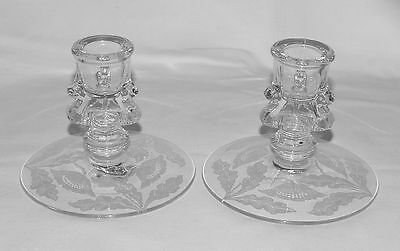 "PERFECT PAIR Rarely Seen Tiffin ""JUNO"" Etched Candlesticks!"