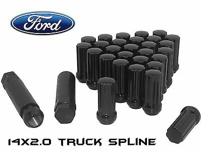 32 14X2.0 Black Spline Lug Nuts Fits Ford F250 F350 Excursion 8X170 Bolt Pattern