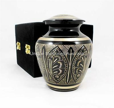 """Solid Brass 6"""" Gold & Black Etched Artisian Style Cremation Memorial Funeral Urn"""