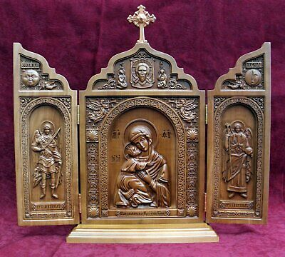 Orthodox Carved Triptych ICON Vladimir Mother of God, Michael Gabriel Archangels