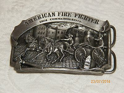 Vintage AMERICAN FIRE FIGHTER 1984 COMMEMORATIVE Pewter Belt Buckle Limited Ed.