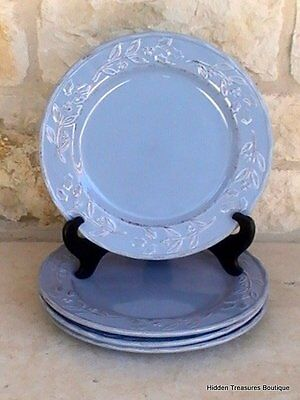 Home Hearthstone Blue 4 Dinner Plates Hand-Painted Stoneware Holly Berries