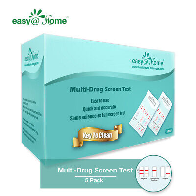 5 Pack Easy@Home 10 Panel Dip Drug Test Strips Kit, FDA Approved, EPDOA-3104