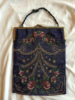 Vintage German 1920s Beaded Flapper Purse Large Size Nice Old Original