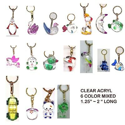 "Wholesale Lot Of 6,12,24--""duck"" Painted 1.5"" Long  Crystal Clear Keychain"