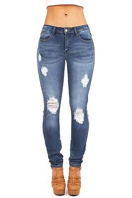 Machine Jeans New Womens Ripped Destroyed Distressed Fitted Low Rise Skinnys