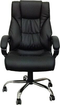 High Back Leather Executive Office Desk Computer Chair w/Metal Base 3075