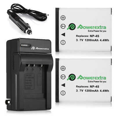 TWO BATTERIES + CHARGER Pack FOR FUJIFILM FUJI NP-45 FinePix XP60 J10 J20 J100