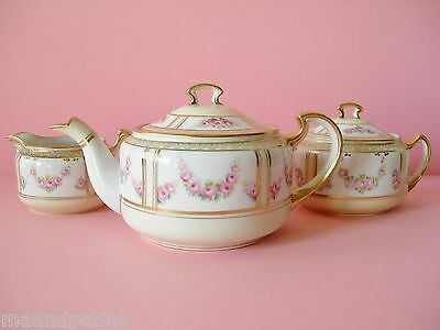 Beautiful Delicate Antique Nippon Teaset Teapot Creamer And Sugar Pink And White