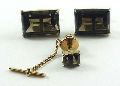 Lovely Vintage Pair of Gilt Sterling Silver & Smokey Quartz Cufflinks & Tie Tack