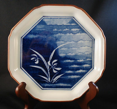 """Octagonal 7"""" Plate Fitz & Floyd blue/floral/blossoms (unknown pattern)"""