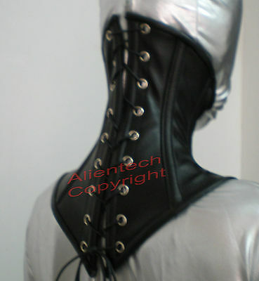 Real Cow Leather Under Chin Neck Corset Posture Collar  Black S-XL