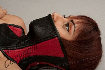 Real Leather Black and Red Real Leather Over Mouth Neck Corset Posture Collar