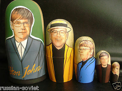 Elton John Russian Hand Painted Doll Wooden Babushka Matryoshka  Set Of 5