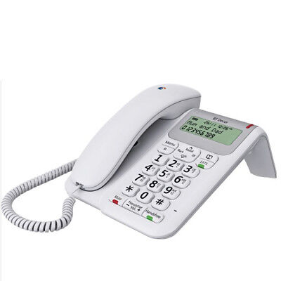 BT Decor 2200 Large Display Corded Phone with Phonebook and Caller ID in White