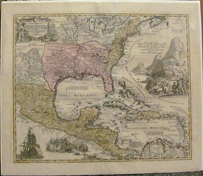 1720 Johann Baptiste Homann Map of North America Canada U.S. Mexico Caribbean