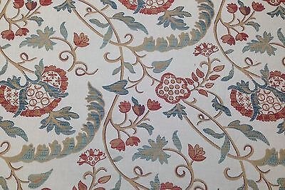 "DESIGNER JACOBEAN FLORAL BEIGE JACQUARD WOVEN FURNITURE FABRIC BY THE YARD 54""W"