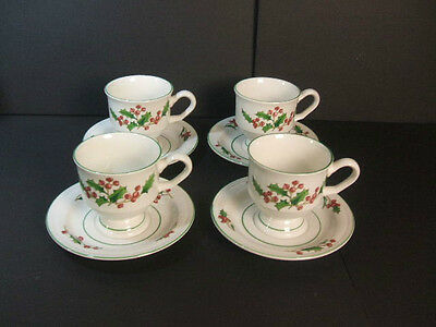 4 Sango China Holiday Holly Berry WHITE CHRISTMAS Pedestal Coffee Cups & Saucers