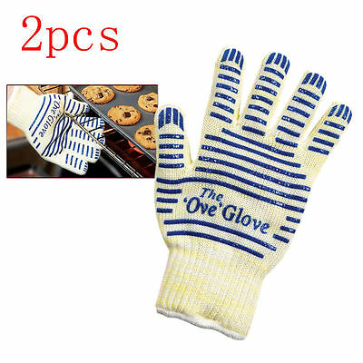 US Sale 2X Ove Gloves Hot Resistance Surface Handler Oven Firefight Kitchen Tool