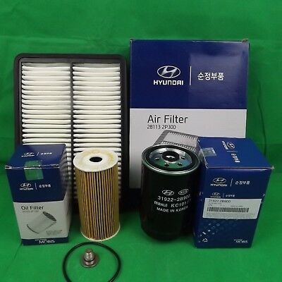 Genuine Hyundai Santa Fe Cm 2.2L Crdi Diesel Filter Pack (Oil+Air+Fuel Filter)