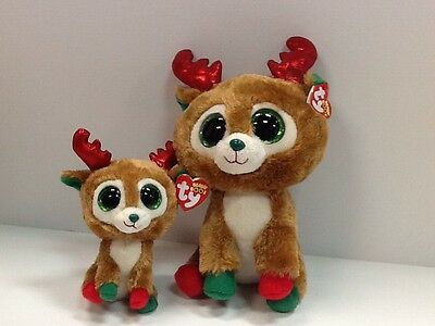 TY SET OF 2 ALPINE 2013 REINDEER BEANIE BOOS-NEW, MINT TAGS-LOVE WINTER