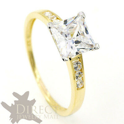 2ct 9ct Real GOLD Princess Cut Created DIAMOND Wedding ENGAGEMENT Ring Full Size