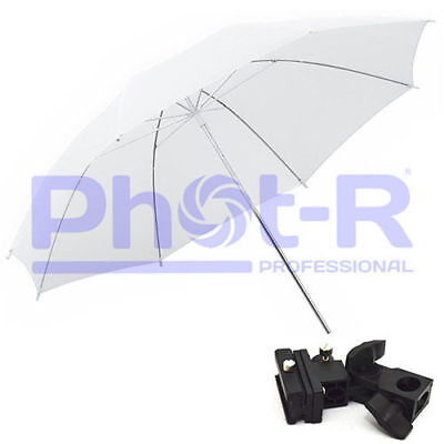"Phot-R 33"" White Studio Umbrella+Swivel Hotshoe Flash Light Stand Holder Bracket"