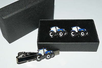 New Holland/Ford Blue Tractor Cufflinks & Tie Clip GIFT Boxed Enamel Farming