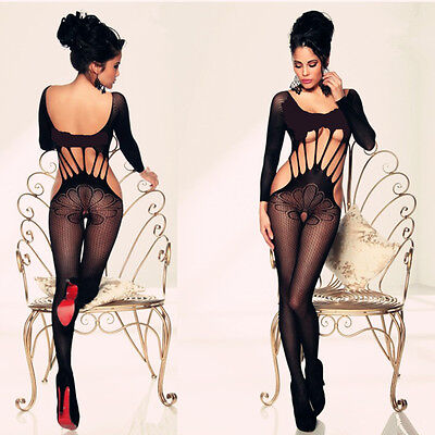 Sexy sleeved fishnet crotchless bodystocking bodysuit lingerie one size/UK 6-14