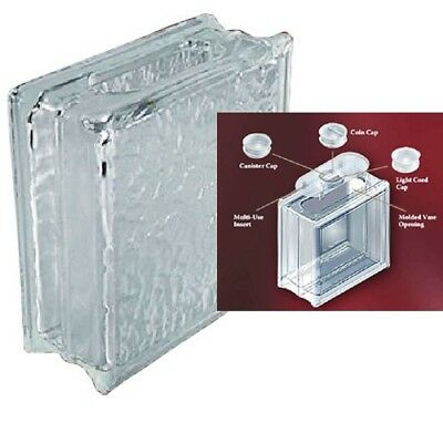 DecoBloc Ice Pattern Glass Block 8x8x3 with Insert Cap