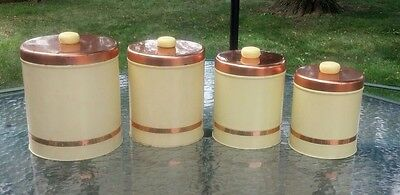 8 Piece Set Vintage Yellow Canisters With Copper Lids
