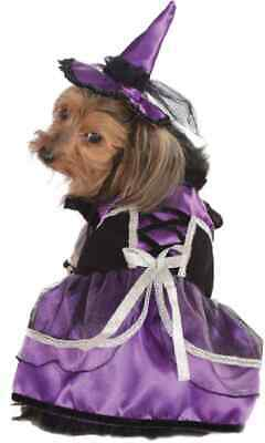 Purple Witch Wicked Black Cute Fancy Dress Halloween Pet Dog Cat Costume w/Hat
