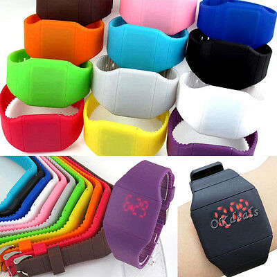 11 Colors  Touch Red LED Digital Display Silicone Sports Gift Wrist Watch