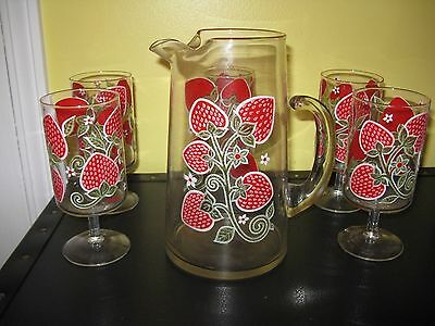 ~Vintage Mid-Century Libbey Strawberry Pitcher and Matching Pedestal Glasses~