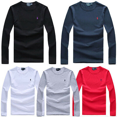 Men's Pony Polo Long Sleeve Solid Color T-shirt Casual Tee Tops Best Quality