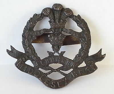 WWI Middlesex Regiment Die Cast Bronze Officers Cap Badge with intact blades