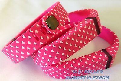 3pcs Large Pink with White Hearts Bands & Clasps For Fitbit Flex  /No Tracker