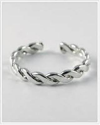 Sterling Silver Adjustable  Toe Ring,braided Tr218
