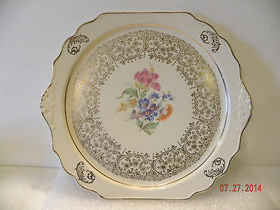 Harker Pottery Co. Plate in 22k Gold and Floral Design