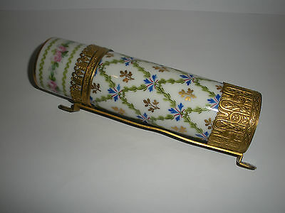 UNUSUAL RARE SEVRES PORCELAIN WALL CANDLESTICK/ CANDLE TUBE HOLDER with FRAME