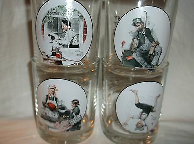 (4) Norman Rockwell Glass Whiskey Tumblers