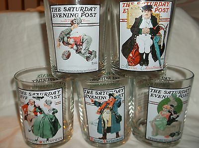 (5) Norman Rockwell Glass Whiskey Tumblers