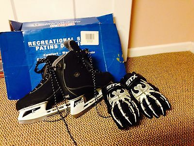 New CCM Chanti 3 Ice Hockey Skates Size 11.   Gloves (used) Included