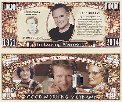 RARE: Robin Williams $1,000,000 Novelty Note, Movies Buy 5 Get one FREE