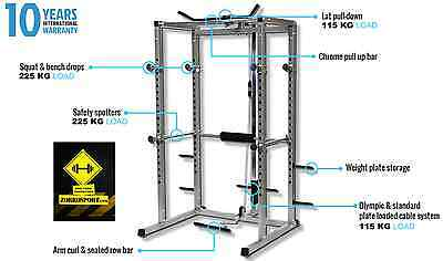 Power rack con lat machine/pulley 25mm dip bar incluse