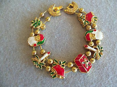 VINTAGE SANTA BELL SLEIGH CANDLE CHRISTMAS TREE BRACELET HOLIDAY NOS EXC 3058