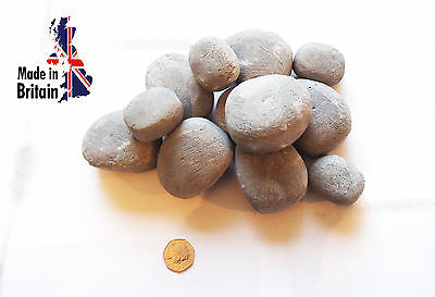 gas fire replacement pebbles mixture of 2 sizes in grey , gas fire stones uk
