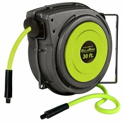 "FLEXZILLA ZillaReel Auto Retractable Mountable Air Hose Reel + 3/8"" x 30' Hose!"