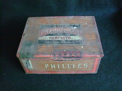 "VINTAGE  TIN ""PHILLIPS"" CIGAR BOX -AMERICA'S GREATEST CIGAR VALUE ONLY 5 CENTS"